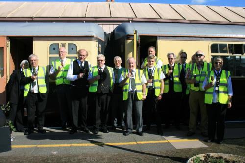 A group of volunteers on the Shakespeare Express at Stratford on Avon