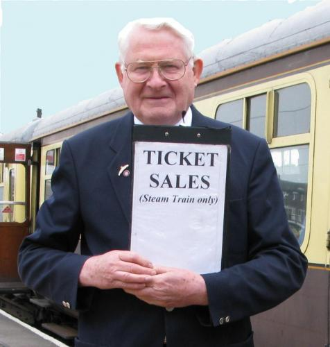 Selling tickets for the Shakespeare Express at Stratford on Avon